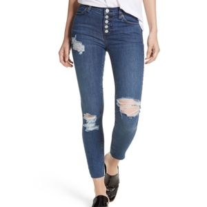 NWT Free People Reagan Distressed Button Jeans